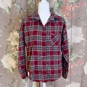Brandy Melville Red Plaid Flannel Button Up Shirt